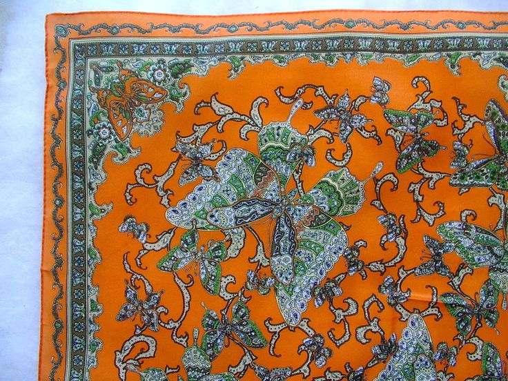 PSYCHEDELIC. Scarf. PAISLEY. BUTTERFLY. orange / green Trippy Hippie Culture. ladies Scarf. 22 x 22 inches vintage 1960s 1970s. by OurVintageWay on Etsy