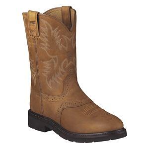 Ariat Sierra Saddle Pull On Work Boots for Men - Aged Bark - 10.5 M