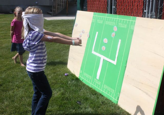 Football Party Games! Looks Like so much fun! Creating my own idea often this!