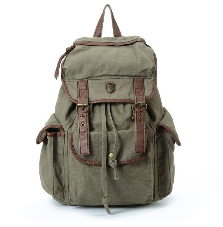 """14"""" Laptop Backpack Bag Big Leisure Leather Canvas Backpack Leather School Bag Shoulder IPAD Bag ********************************************** We use selected thick genuine cow leather, quality canva"""