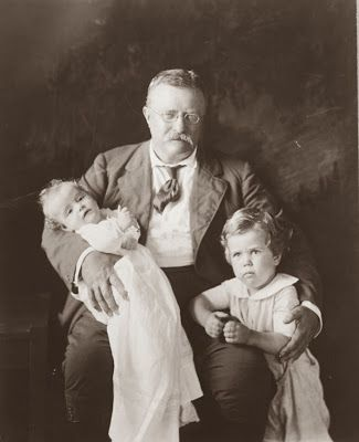 Theodore Roosevelt with Grandson- Richard Derby and holding Grandson Kermit Roosevelt, Jr.