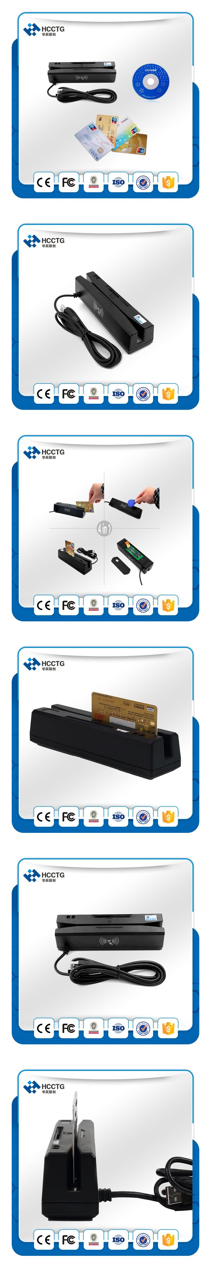 Mini Contact and NFC Magnetic Stripe and IC Card reader writer HCC110