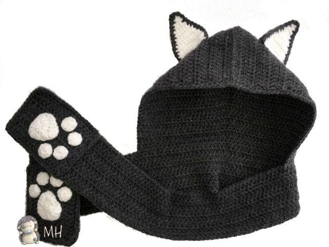 Bufanda de gato con capucha a crochet                              …