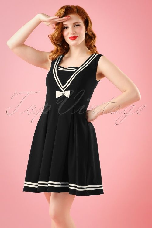 Vanessa Frankenstein is looking amazing in this 50s Sailors Ruin Dress in Black by Bunny!