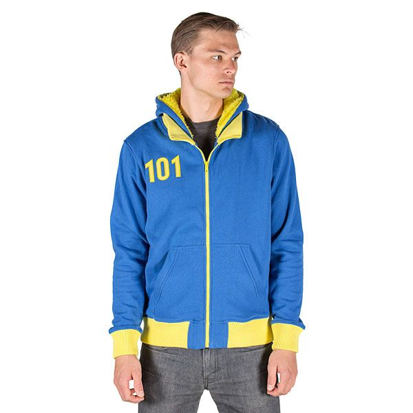 This Vault 101 Hoodie Nuclear Winter Edition will make you look like you're a resident of Vault 101 from Fallout. You don't even need a jumpsuit.  The entire hoodie is lined in yellow sherpa and features an embroidered 101 o