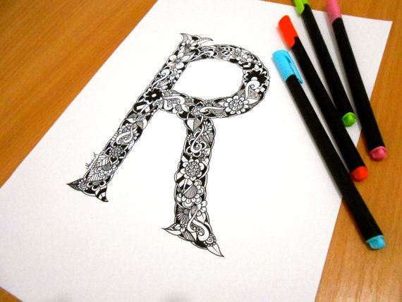 Letter R Decoration Coloring page Adult coloring by GardenDoodles
