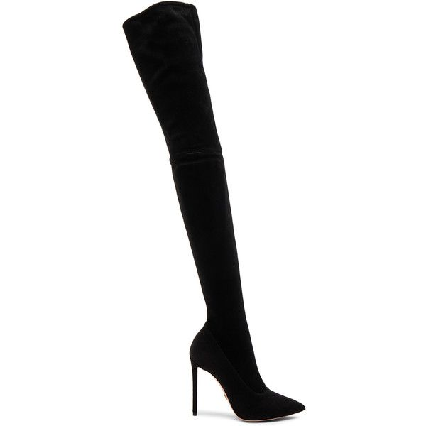 Oscar Tiye Lama Suede Thigh High Boots ($1,775) ❤ liked on Polyvore featuring shoes, boots, over-the-knee boots, side zipper boots, high heel boots, above knee boots, over knee boots and over-the-knee high-heel boots