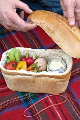 Love this idea of transporting your picnic, and then once you've eaten everything you can eat the bread! #Summer #Picnic