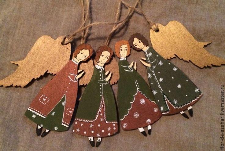 Купить Ангелок из дерева - рождественские цвета - ангел, ангелочек, ангелы, ангелочки, ангелок, Новый Год