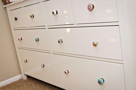 Hemnes IKEA dresser & mismatched Anthropologie knobs