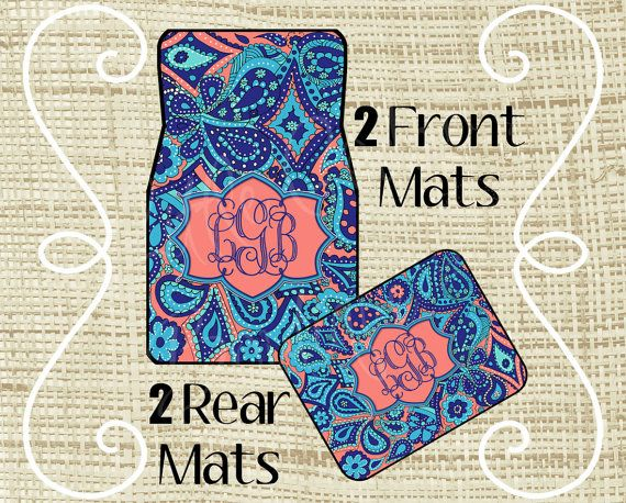 Custom Personalized Set of Car Floor Mats  by LittleGoddessBtq