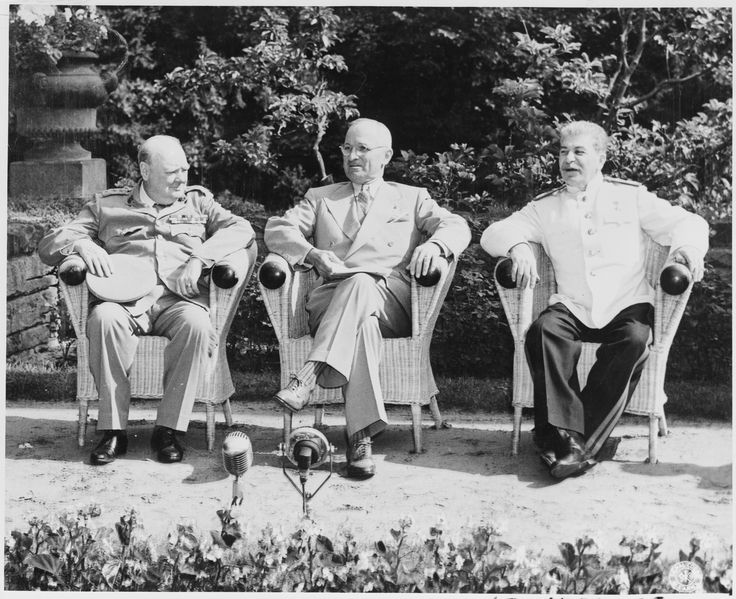 left to right, British Prime Minister Winston Churchill, President Harry S. Truman and Soviet Premier Josef Stalin at the home of Crown Prince Wilhelm Hohenzollern, in Potsdam, occupied Germany, from 17 July to 2 August 1945, a.k.a., The Potsdam Conference.