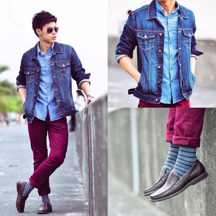 Shop this look on Lookastic:  http://lookastic.com/men/looks/chinos-longsleeve-shirt-socks-driving-shoes-denim-jacket/4927  — Burgundy Chinos  — Light Blue Polka Dot Long Sleeve Shirt  — Blue Horizontal Striped Socks  — Dark Brown Leather Driving Shoes  — Blue Denim Jacket