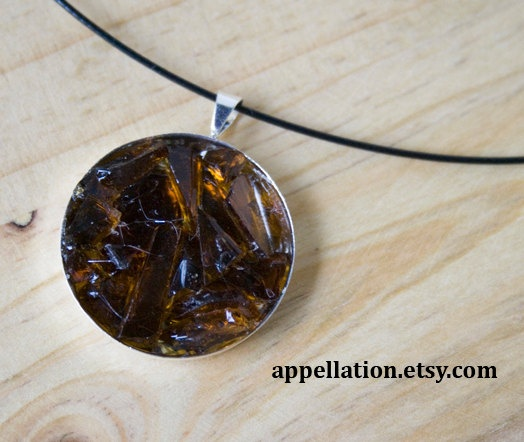 Tumbled glass necklace  Brown glass  1 inch   by Appellation, $60.00