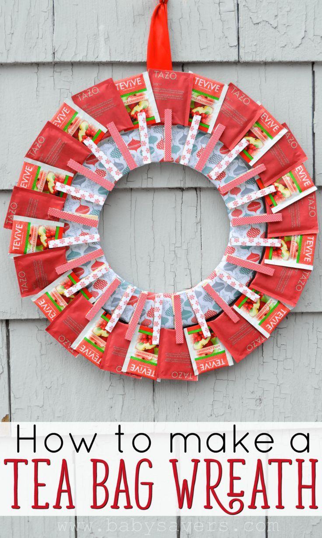 How To Make A Tea Bag Wreath Diy Tutorial With Pictures Tea Bag Wreath Tea Bag Wreath Diy Christmas Wreaths Diy