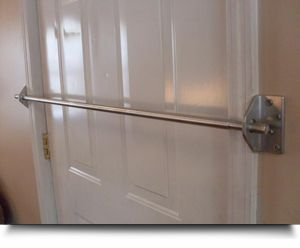 "SAFE Security Door Bar System     is constructed of 2 - 4"" long x 1/4"" thick aluminum angle extrusion with 4 pre-drilled holes using 4- 2 1/2"" lag bolts on each side to mount into the frame studs of your home."