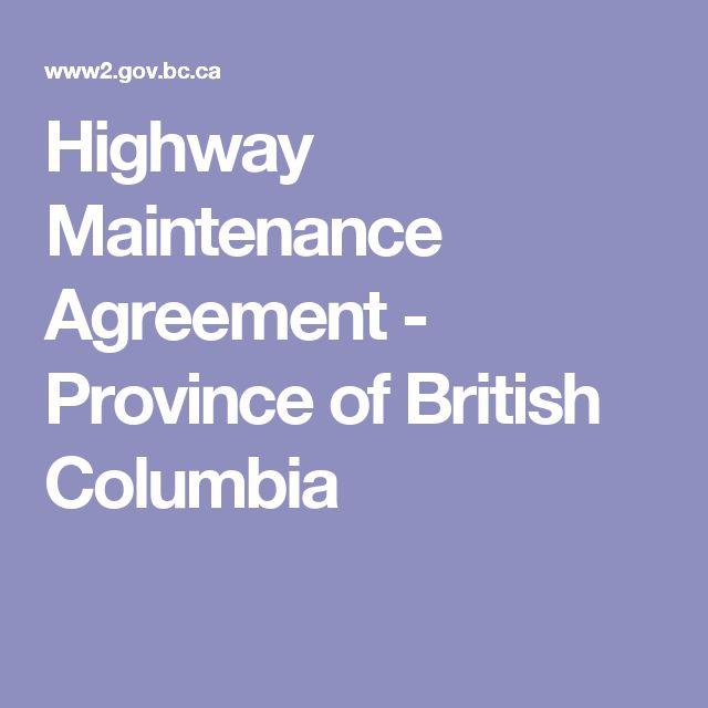 Highway Maintenance Agreement - Province of British Columbia