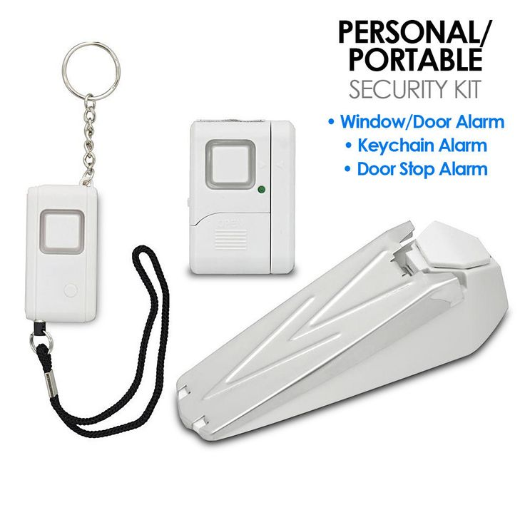 GE Personal/Portable Security Kit with Window, Door and Personal Keychain Alarms The GE Portable Security Kit with Window and Door Alarms provides an all-in-one security solution for your dorm or apartment. Included is a window/door alarm, keychain alarm, and door stop alarm, so you can enjoy peace of mind while at home or away. With a 120 dB siren, the alarms are loud enough to alert you or your neighbors of a possible break-in as well as scare any intruder. The keychain alarm is the…