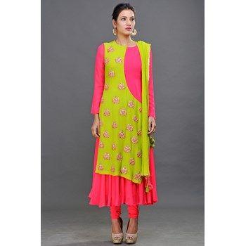 Anarkali,Pink and Green Semi Angrakha