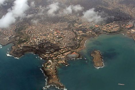 Aerial view of the capital of the archipelago, Praia, on the island of Santiago, Cape Verde