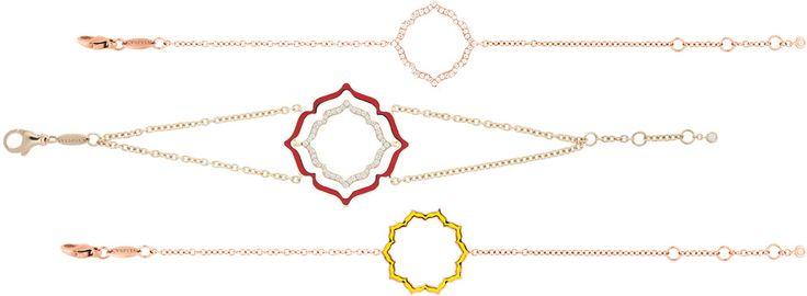 Caspita Chakra bracelets in yellow or pink gold