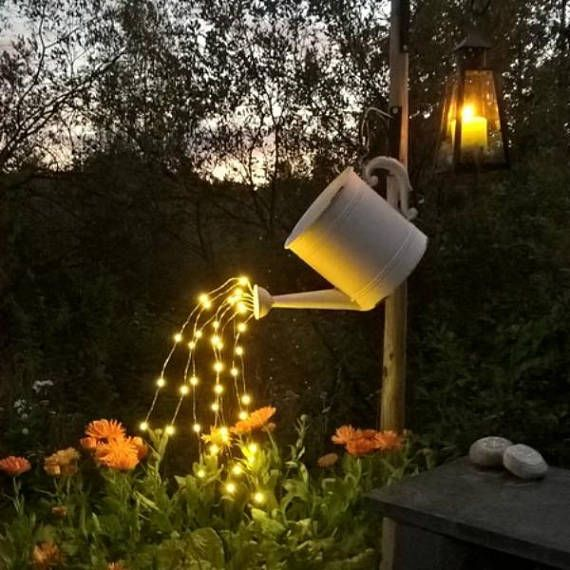 Waterfall Fairy Lights For Watering Can Decorations Five Backyard Lighting Garden Projects Diy Backyard