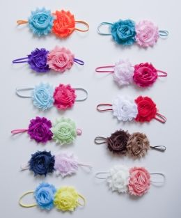 Smal haarbandje met twee chiffon bloemen