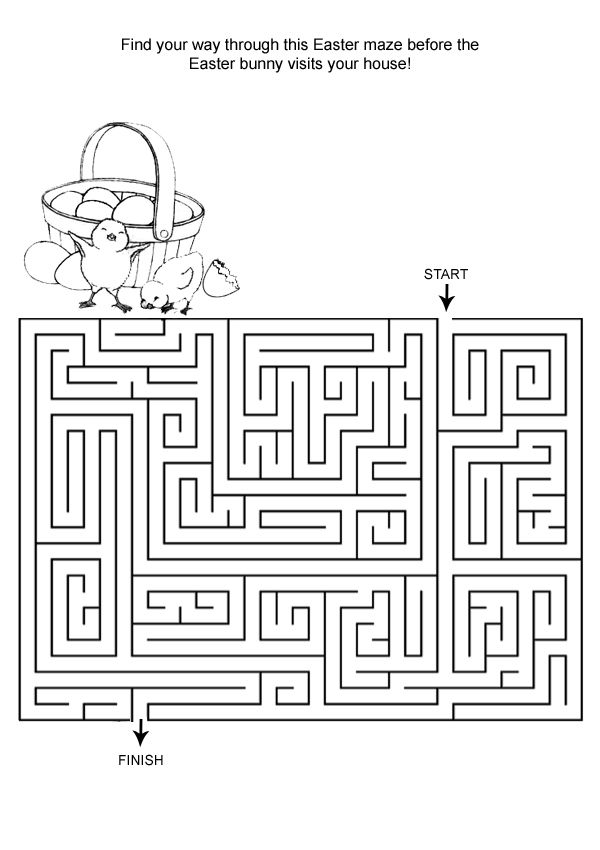 free online printable kids games easter maze