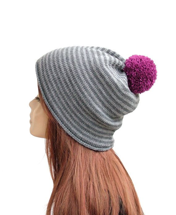 Pure merino wool pompom hat, women's winter beanie by Rukkola on Etsy. #womenspompomhat #womenswoolhat #pompombeanie