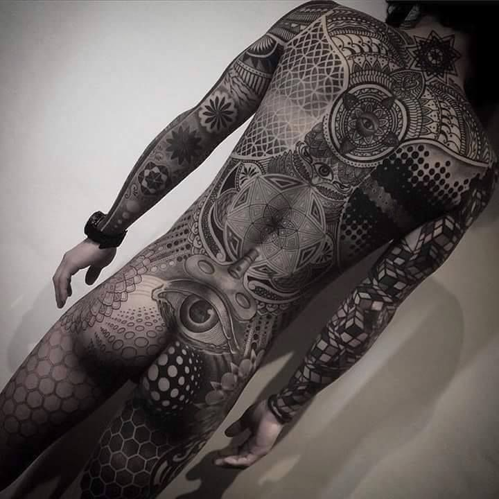 Geometric Dot and Line Full body suit tattoo - Fallen Empire Tattoo