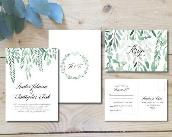 Invitation de mariage imprimable | Invitation + Carte postale RSVP | Aquarelle, moderne, feuillage, botanique, bohémien, vert | Feuillage