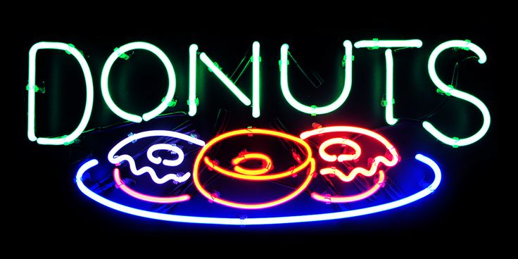 Donut Shop Lights | Light Up Neon Donuts Sign | Storefront | Typography Design