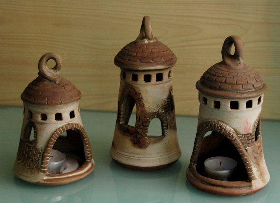 Handmade Ceramic Sculpture windmill candlestick