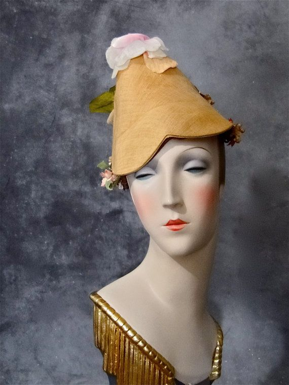Dramatic Straw Hat Vintage French Bonnet by SueEllensFlair on Etsy