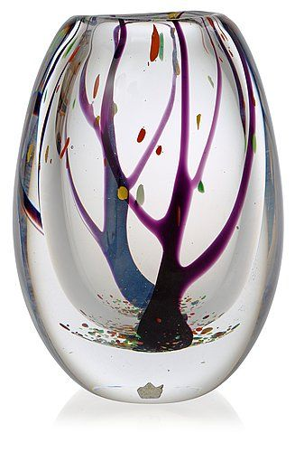 ***** A Vicke Lindstrand 'Autumn' glass vase by Kosta 1950's-60's.
