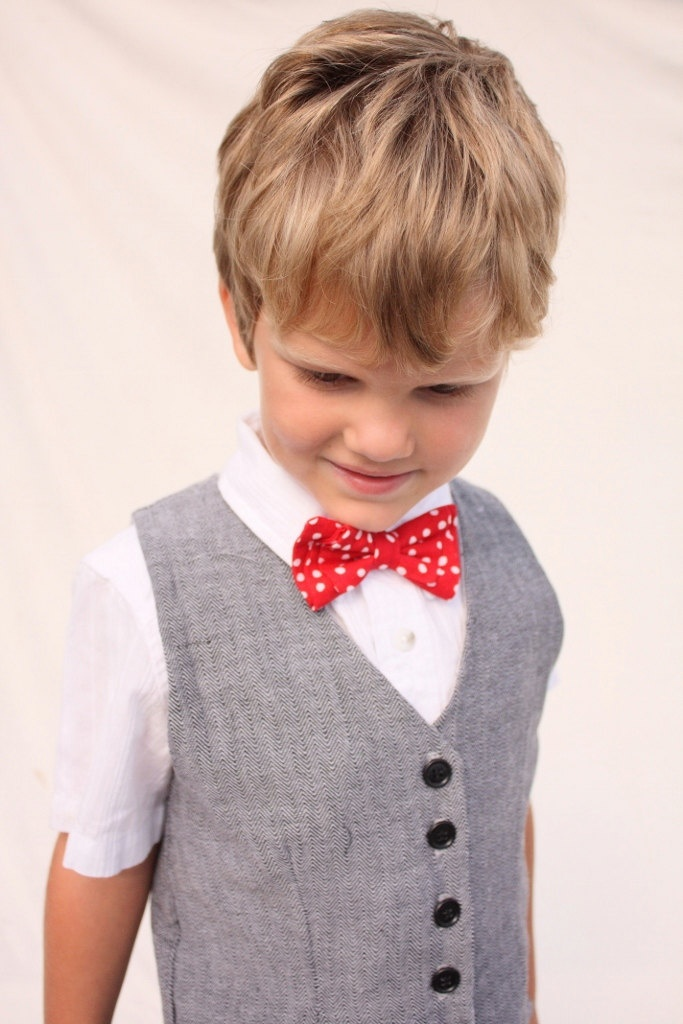 Boys vest, wedding vest, vintage vest, red bow tie, boy photo prop, Red bow tie. $37.99, via Etsy.