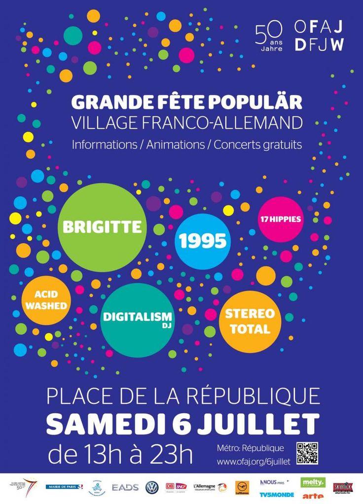 L'OFAJ fête son 50ème anniversaire. A cette occasion, une grande fête populaire aura lieu le 6 juillet 2013, Place de la République à Paris. Le collège André Citroën de Paris et le Ernst-Kalkuhl-Gymnasium de Bonn s'associent à cette anniversaire dans le cadre d'un échange d'élèves.