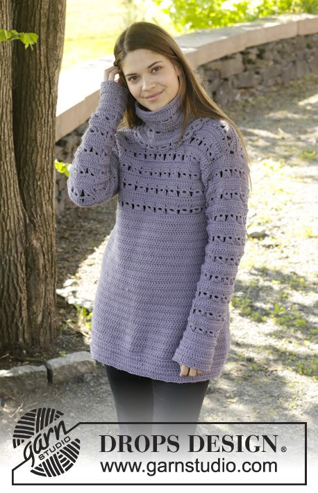 """Crochet DROPS jumper with detachable collar and broomstick lace in """"Nepal"""". Size: S - XXXL. ~ DROPS Design"""