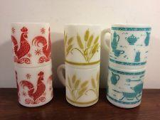 6 Vintage Hazel Atlas Coffee Mug Farm Red Rooster Turquoise Kitchen Gold Wheat