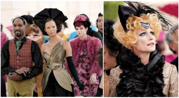 Aunque el vestuario de los ciudadanos del Capitolio se ve muy colorido, Judianna Makosvsky empleó el color negro para contrarestar los colores llamativos de las prendas.