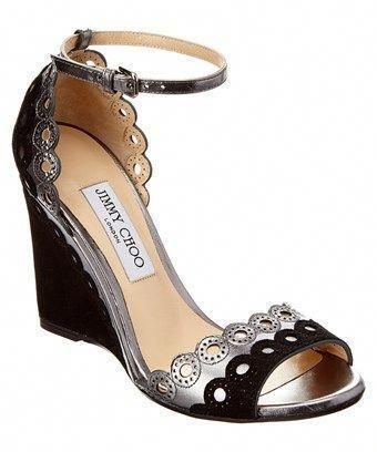 d48358f7ee0d JIMMY CHOO JIMMY CHOO DEVOUT 100 METALLIC LEATHER   SCALLOPED PERFORATED  SUEDE WEDGE.  jimmychoo