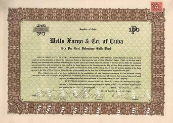 Wells Fargo & Co of Cuba 6% Gold Bond 1.9.1920.