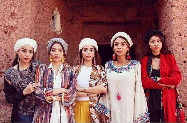 Iranians in beautiful traditional dress in Abyane, IRAN