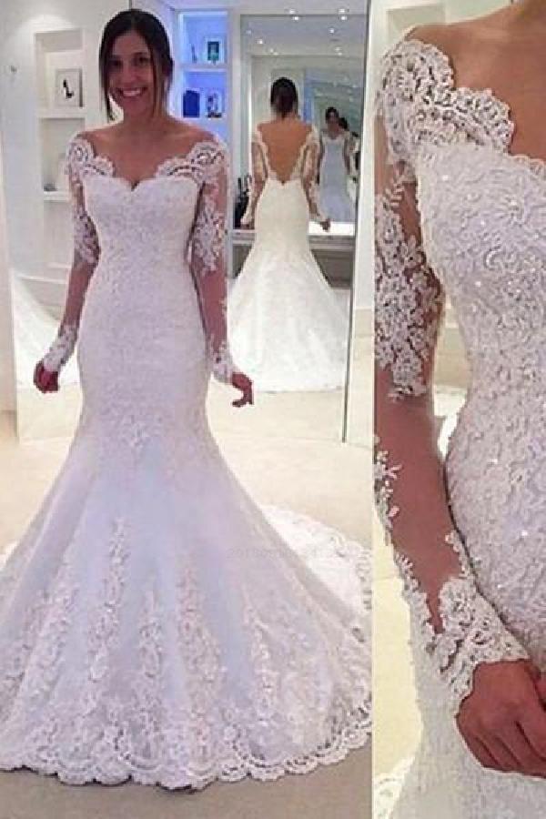 Beautiful Sexy Party Dress, Wedding Dress Lace, Wedding Dress Mermaid, Backless Party Dress