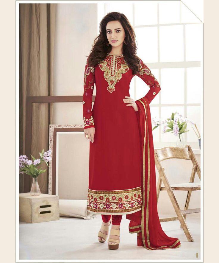 Neha Sharma Red Faux Georgette Churidar Suit 67386
