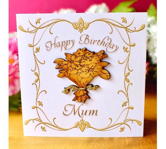 Luxury Birthday Card For Mum Handmade With Wooden Bouquet Of Etsy Happy Birthday Mum Cards Birthday Cards For Mum Luxury Birthday Cards