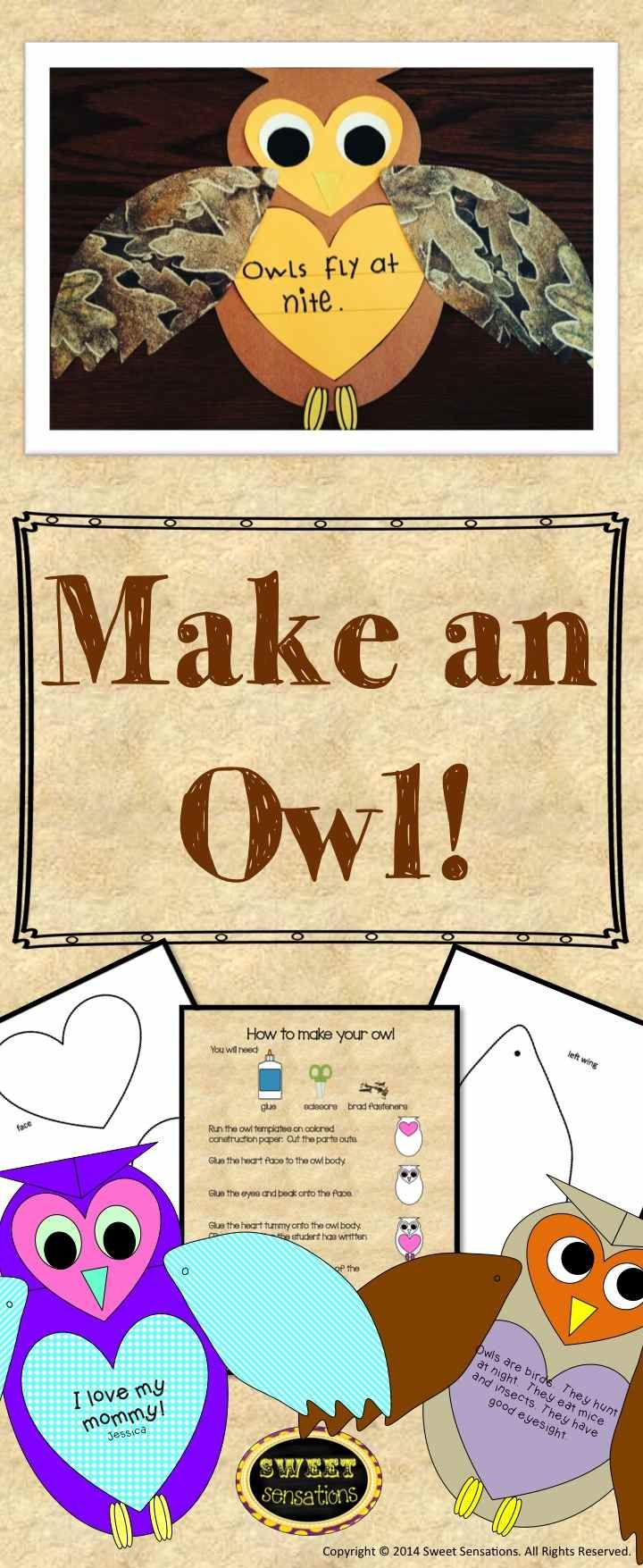 This pack contains templates and directions to make cute craft owls. Run on construction paper or scrapbook paper and let students create their new breed of owl! A perfect fall activity and not a ghost or witch in sight!