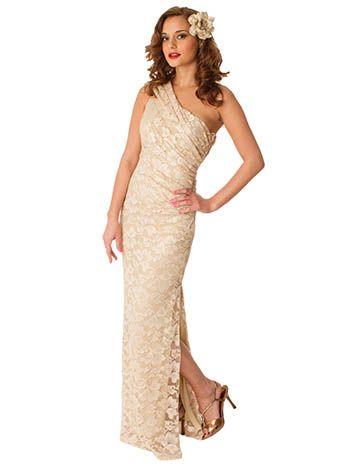 One Shoulder Champagne Evening Dresses