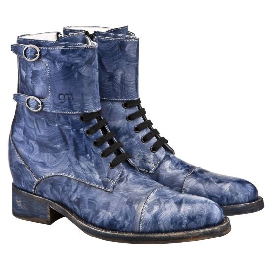 Hand Painted Elevator Boots - Upper in hand painted full grain leather, insole and midsole in genuine leather, leather heel with special anti-slip rubber. Hand Made in Italy #elevatorshoes