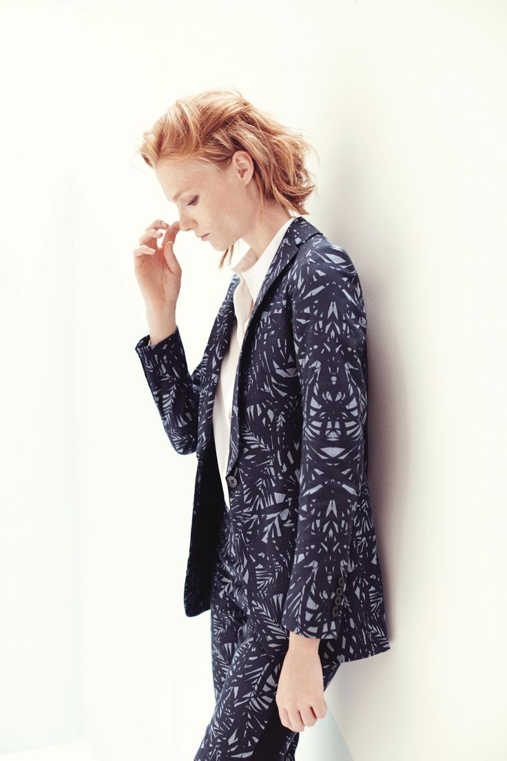 Smoking in printed denim. Long jacket shawl collar. Pants with sideband. TONELLO WOMAN SS15 www.tonello.net